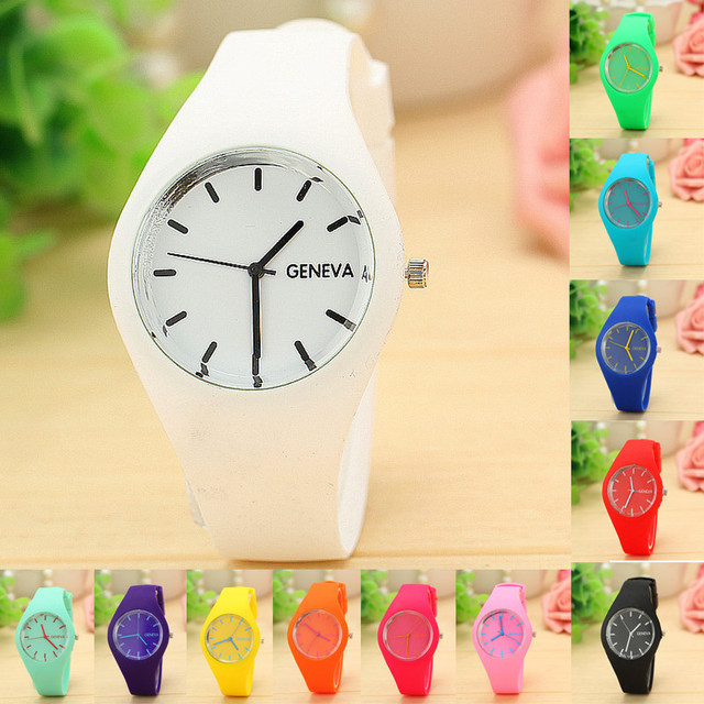 appearance Children watches Women Girl Boy Leisure Sports Clock Candy colored Je