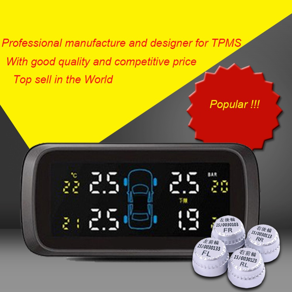 Auto Wireless 4 External Sensor Tire Pressure Alarm System Smart LCD Display Tyre Pressure Monitor for Car TPMS Diagnostic-tool auto tire pressure sensor tpms tire pressure valve for vw cc oem 433mhz 3aa907275 retail wholesale free shipping promotion