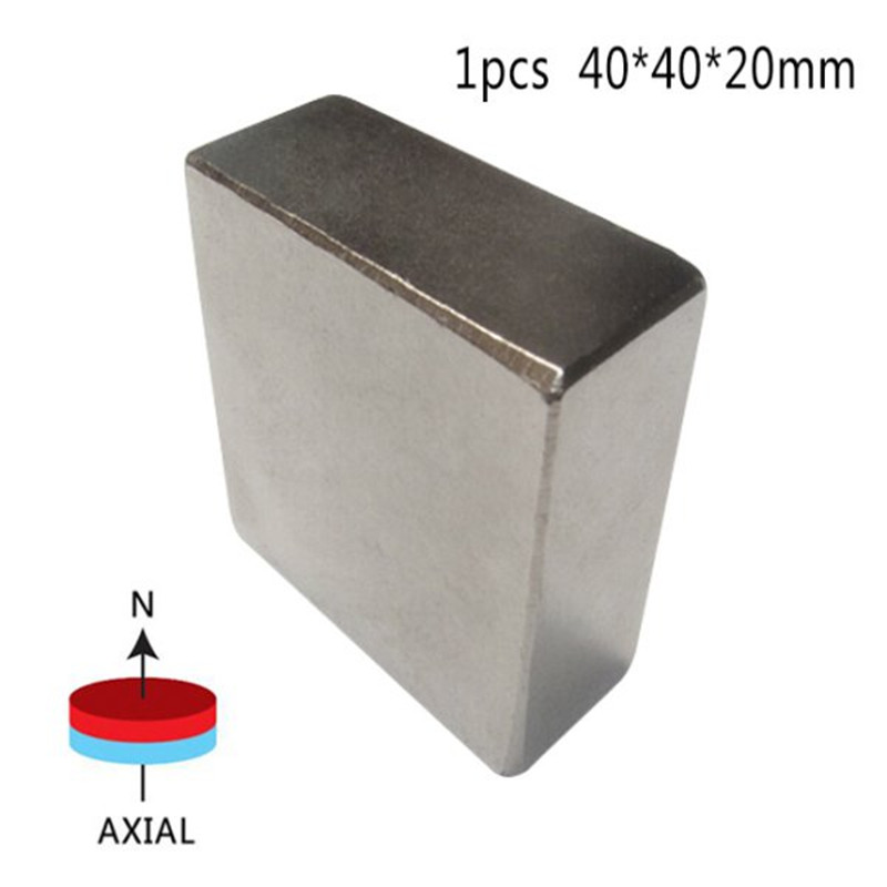 1Pcs Block 40x40x20mm Super Powerful Strong Rare Earth Block NdFeB Magnet Neodymium N52 Magnets 2015 20pcs n42 super strong block square rare earth neodymium magnets 10 x 5 x 1mm magnet wholesale price