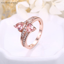 PHOEBEJEWEL Hot Sale 2 Pink Stones Rose Gold Women Ring Wedding Engagement Best Friends Forever Fashion Jewelry(China)