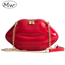 Moon Wood Fashion Lips Clutch Evening Bag 2018 Small Women Patent Leather Chain Handbag For