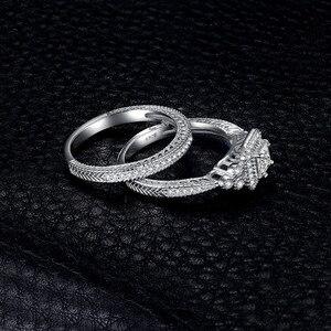 Image 3 - JPalace נסיכת בציר אירוסין טבעת סט 925 כסף סטרלינג טבעות נשים טבעות נישואים כלה סטי כסף 925 תכשיטים