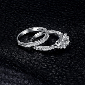 Image 3 - JPalace prenses Vintage nişan yüzüğü seti kadınlar için 925 ayar gümüş yüzük alyanslar gelin setleri gümüş 925 takı
