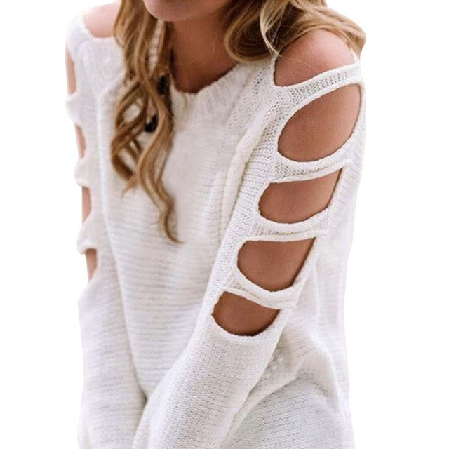 3bab1fe5fe99e Korean Women Long Sleeve Cold Shoulder Knit Blouse Sweater Top Shirt  Shoulder empty holes round neck pullovers students apparel