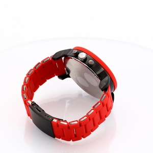 Image 4 - Cagarny Cool Big Quartz Watch For Men Red Silicone Steel Band Sports Wristwatch Man Military Relogio Masculino D7370 Male Clock