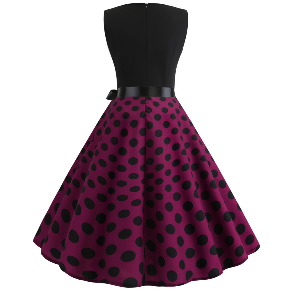 HTB1gyHzbfvsK1RjSspdq6AZepXaj Women Summer Dresses 2019 Robe Vintage 1950s 60s Pin Up Big Swing Party Work Wear Rockabilly Dress Black Polka Dot Vestidos