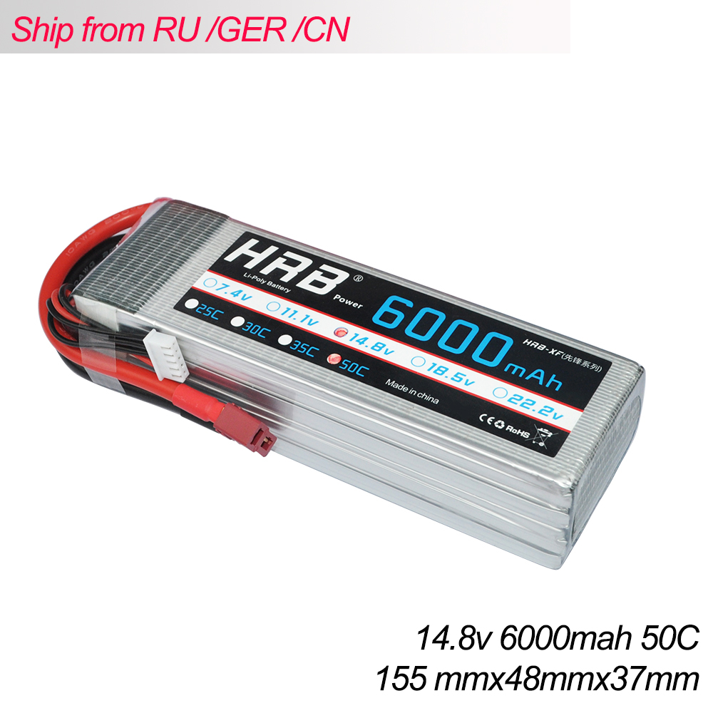 HRB 2PCS Lipo Battery 4S 14.8V 6000mah 50C Burst 100C Li-Polymer Bateria AKKU for RC car Quadcopter Helicopter Truck Drone free shipping high capacity 14 8v 10400mah lipo battery li poly lithium polymer power 4s 25c akku bateria for rc car heli model