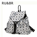 RU&BR Fashion Woman Backpack Feminine Geometric Patchwork Sequins Plaid Pattern Backpack Drawstring Hasp Backpack For Teens Girl