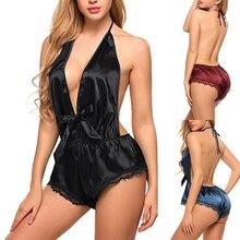 Модная Пижама, гладкое атласное кружевное ночное белье, сексуальное женское белье, ночное белье, боди, кружевное нижнее белье с перекрестной повязкой