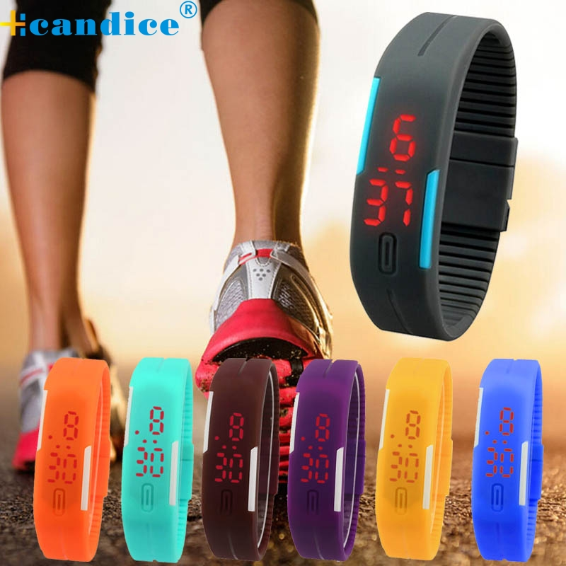 Splendid New Ultra Thin Men Girl Sports Electronic Wristwatches Silicone Digital LED Sports Wrist Watch  Relojes Hombre milk ultra thin men girl sports silicone digital led sports bracelet wrist watch 17mar25