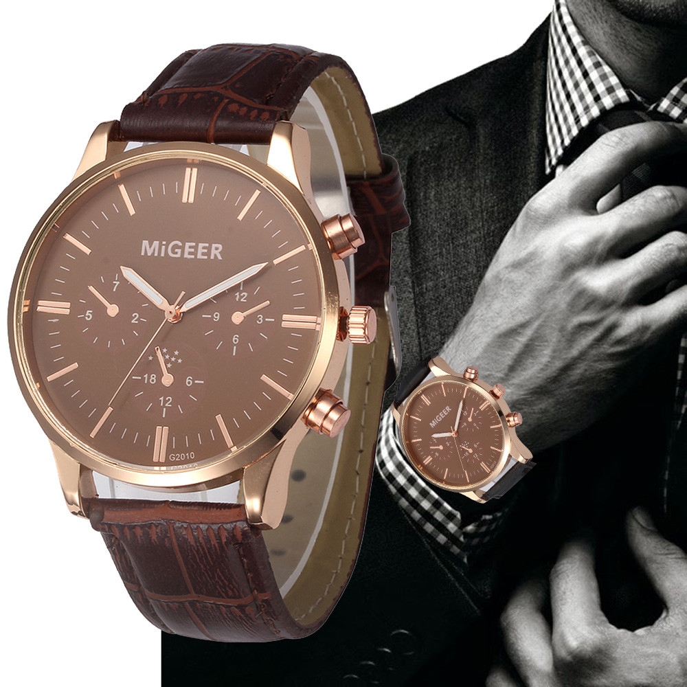 man watch 2019 Leather Gold Case Luxury Men Watch Anlog Roman Number Sports Geneva Fashion Quartz Wristwatch erkek kol saati