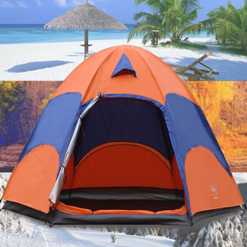 Outdoor Portable Camping Hiking 5-8 Person Double Layer Anti-UV/mosquito waterproof Windproof large space Shade Hexagonal tent hewolf 2persons 4seasons double layer anti big rain wind outdoor mountains camping tent couple hiking tent in good quality