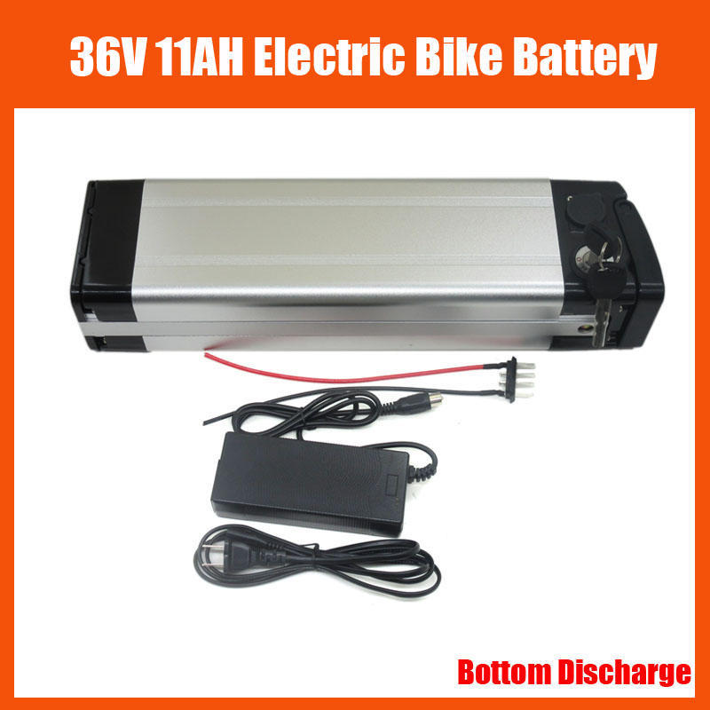 Rechargeable 36V 500W Electric Bike battery 36V 11AH Lithium ion battery with 42V 2A charger and 15A BMS Bottom Discharge image