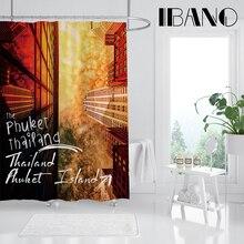 цена на IBANO Inspirational English Landscape Shower Curtain Waterproof Polyester Fabric Bath Curtain For The Bathroom Decoration