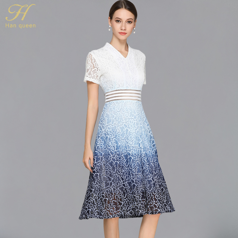 H Han Queen Summer White Lace Dress Women A line Work Casual Slim V neck Sexy