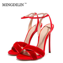 ФОТО mingdilin summer women's heels sandals sexy high heels woman shoes plus size 33 black red women's heels sandals zapatos mujer