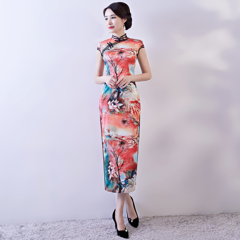 Manches 1 Cheongsam Courtes À Femmes Lady Partie Traditionnel Chinois Style S 3xl Mince style Qipao 2 Long Sexy Robes D'été Robe Rayonne gEwAxHq0q