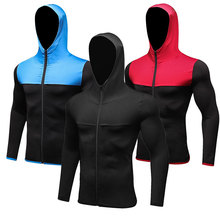 2017 New Long Sleeve Men's Running T-shirt With Hat Zipper Quick Dry Sport Shirt Men Sport Top Compression Gym Clothing Rashgard