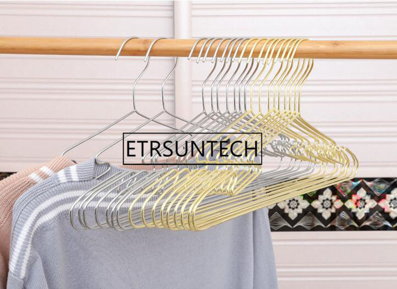Top SaleHanger Metal Coats Non-Slip Golden Silver with Groove Strong-Bearing Capacity 100pcs