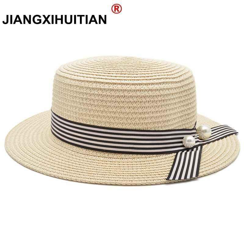 6f15c65f9bc 2018 New Lady Boater sun caps Ribbon Round Flat Top Straw beach hat Panama  Hat summer