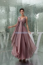 free shipping 2013 new hot seller high quality design handmade flower bride maid dresses strap sexy chiffon brown evening dress