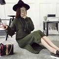 Корейской зимой свитер свободной головой длинный шерстяной свитер платье девушки зимнее пальто толстые одежда воротник