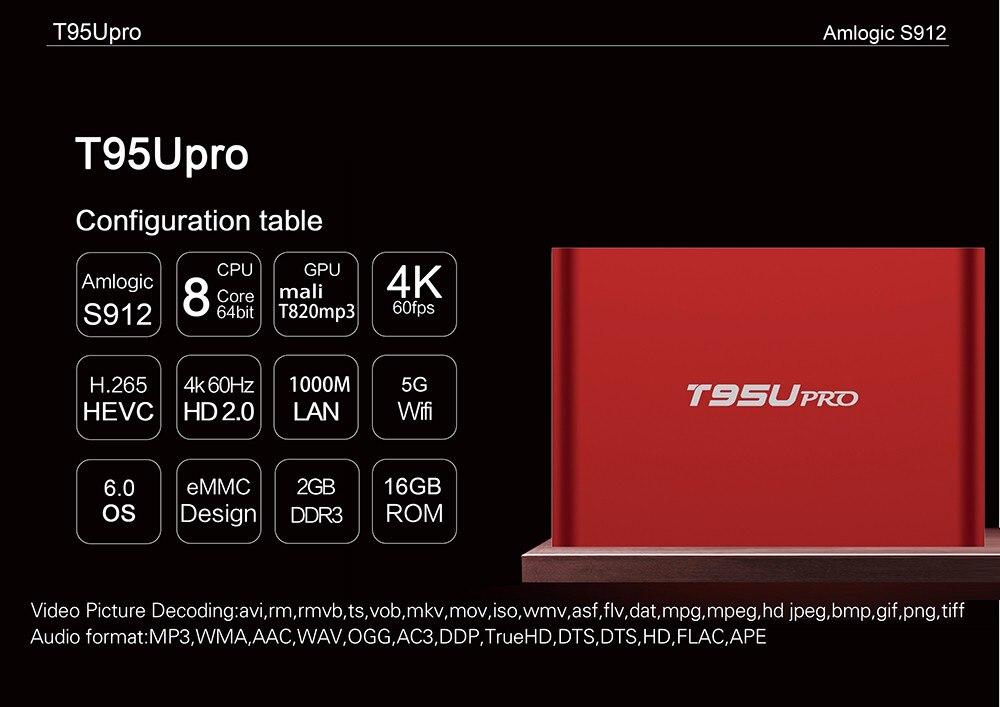 50pcs/lot DHL free T95U PRO Android 6.0 Smart TV Box Octa core  Amlogic S912  2G +16G Dual Band WiFi  H.265 UHD 4K Player