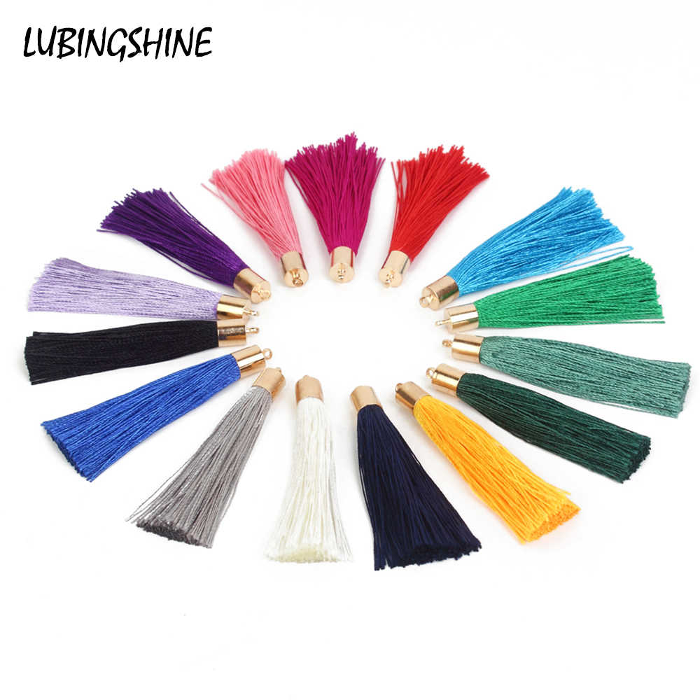 Women Mini Silk Cotton Tassel For Earrings Necklaces Keychains Handmade Long Tassel Charms Jewelry Making Accessories 10pcs/set