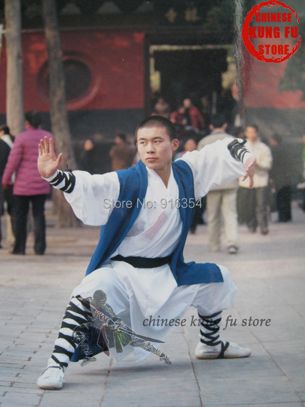 Beautiful White Color Shaolin Monk Uniform with Blue Long Vest Martial arts Wushu Kung fu Tai Chi Wing Chun Suit Karate Set new pure linen retro men s wing chun kung fu long robe long trench ip man robes windbreaker traditional chinese dust coat