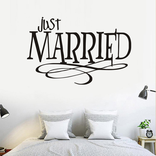 just married quotes wall sticker new design pvc waterproof removable