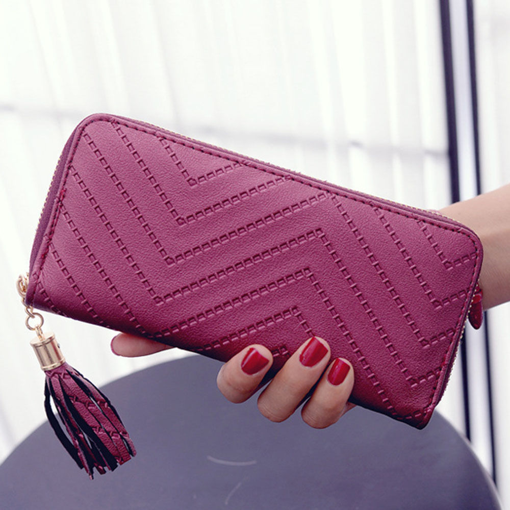 High Quality Tassel Women Wallet Female Clutch Leather Tassel Pendant Long Wallets Women Purse Card Holder women wallet female purse card holder long clutch high quality change purse fashion brand three fold photo dollar price wallets