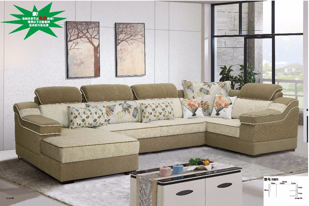 Ldm1801 Modern Living Room Fabric Sofa U Shape Sectional Hemp Set Furniture Comfortable Soft In Sofas From