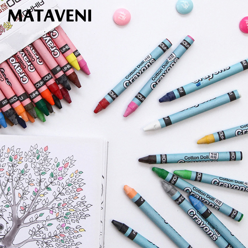 Coloured Wax Caryon Set 8/12 Colors Crayons Pastel Non-toxic Safe For Kids Children Drawing Painting School Supplies