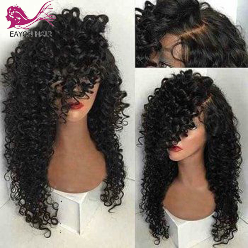 EAYON Kinky Curly 5*4.5 Silk Base Lace Front Human Hair Wigs Glueless Peruvian Remy Hair With Pre Plucked Natural Hairline