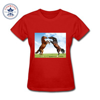 2017 Various Colors Funny Cotton Two Horse Funny T Shirt Women
