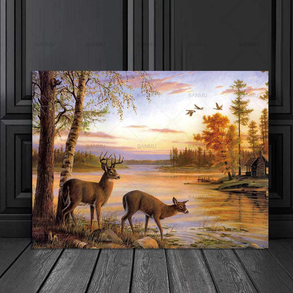 Wall art  the forest two deers  posters and prints home decoration Picture animal painting print on canvas