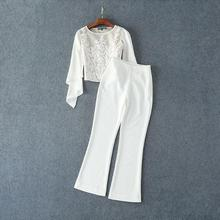 The new Europe and the United States women's 2017 spring White gauze runway looks embroidered coat + pants suit