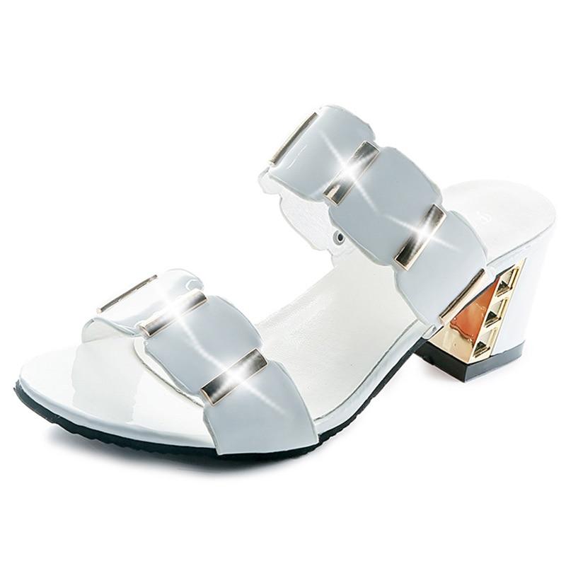 HTB1gyKEatfvK1RjSszhq6AcGFXar Sandals Women High Heels Female Square Heels Sandalia Feminina Ladies Pump Shoes Party Wedding Peep Toe Shoes Black sandalias