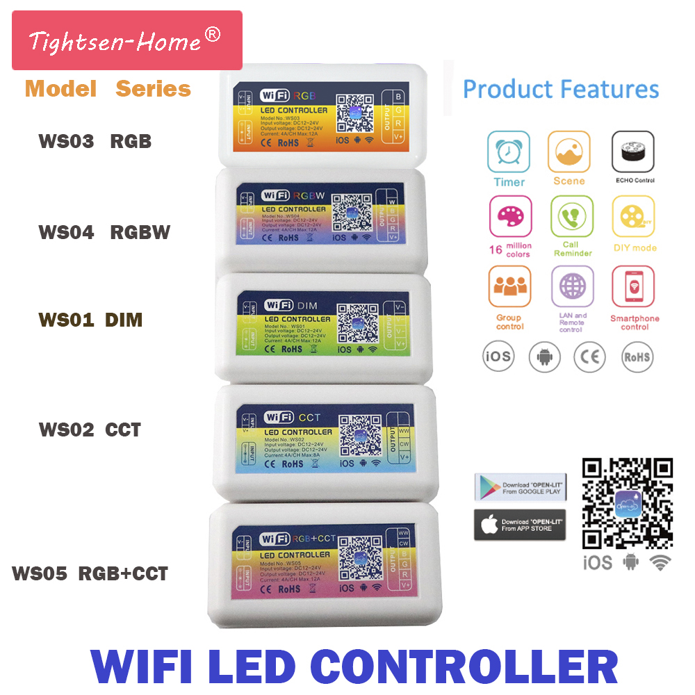 Wifi370 wifi controller dimmer rgb led strip light controller smart dc 12v 24v smart led wifi controller rgb rgbw cct dimmer home lighting alexa control android aloadofball Images