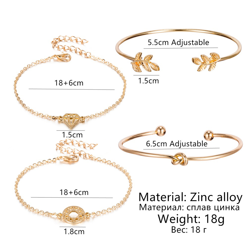 4 pcs/set Fashion Bohemia Leaf Round Knot cuff Bangle Gold Chain Charm Bracelet Bangle for Women Simple Geometric Bracelets
