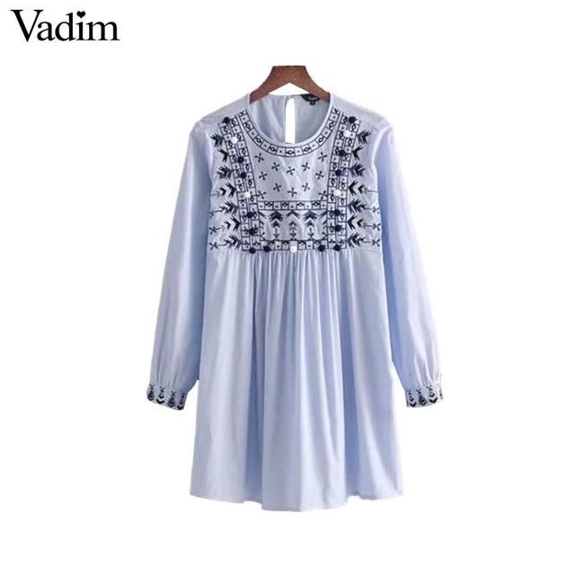 Vadim vintage bordado floral rayas, vestido de bola empate borla falda de manga larga cuello en o Damas mini vestidos QZ3628