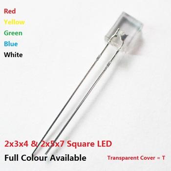 Bezpłatny statku 100 sztuk 2*3*4 2*5*7 plac przezroczysta dioda led czerwony żółty zielony niebieski wysokiej jasny koralik dioda elektroluminescencyjna 2x5x7 2x3x4 tanie i dobre opinie YUFO-IC Nowy F3 3MM square 3 3 V Przez otwór