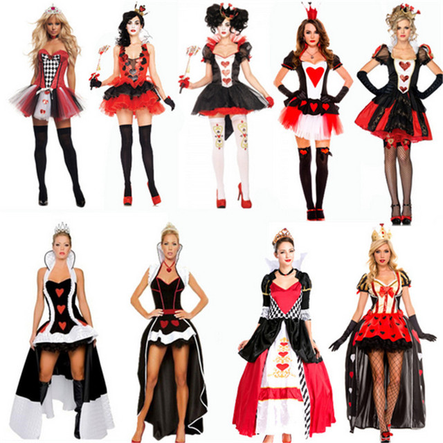2017 new high quality sexy queen of hearts costume Party DS Poker ...