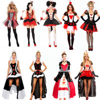 2016 New High Quality Sexy Queen Of Hearts Costume Party DS Poker Queen And Princess Cosplay