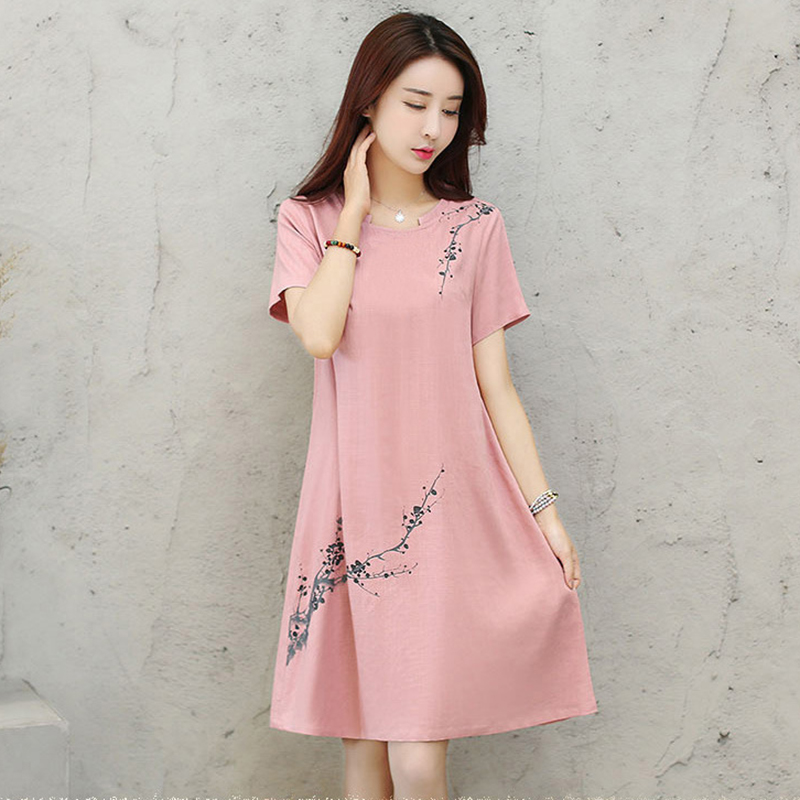 2018 Summer Dress Shirt Women Casual Knee-length T-shirt Dresses Floral Printed Pink Vintage Loose Office Dresses