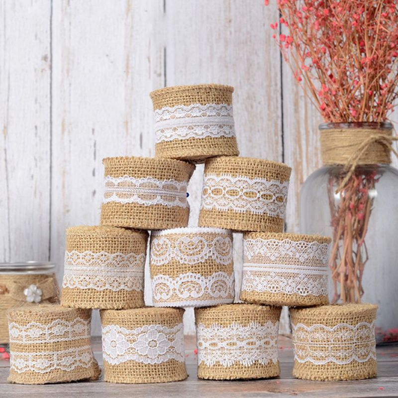 Wedding Decoration Diy Lace Linen Roll 5M Vintage Wedding Burlap Ribbon Sisal Lace Trim Jute Hessian Event Party Decor Supplies Замок