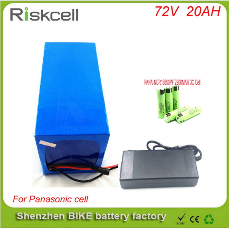 Hot sales 72V 20AH Lithium Battery ,with 2500W BMS Chargrer , RC E-bike Electric Bicycle Scooter 72V battery  For Panasonic cell free customs taxes 48v 40ah portable lithium battery with 2000w bms chargrer e bike electric bicycle scooter 48v lithium battery