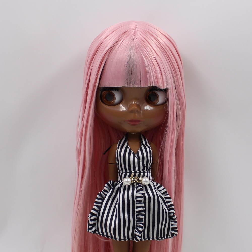 Neo Blythe Doll with Pink Hair, Black skin, Shiny Face & Jointed Body 1