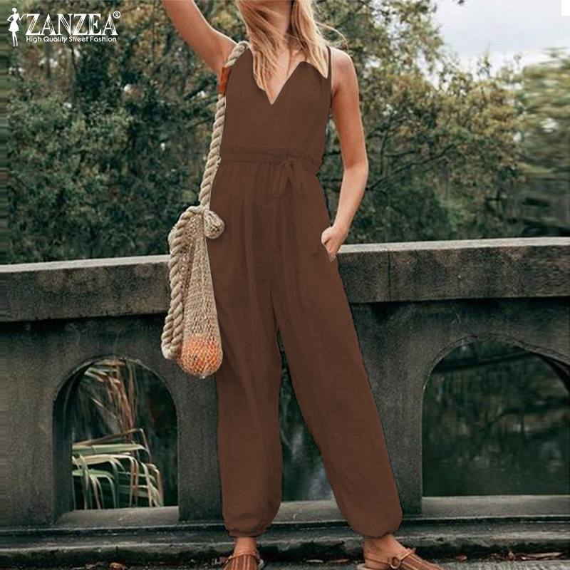 S 5XL ZANZEA Summer Fashion Wide Leg Pants 2019 Women Sexy V Neck Party Jumpsuits Casual Solid Long Suspender Playsuits Femme