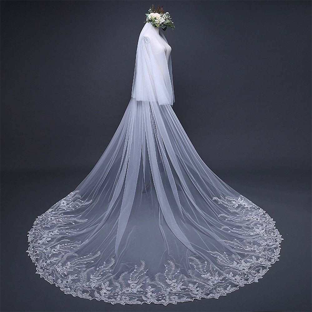 Wide Lace Edge Bridal Wedding Veil Cathedral Train Long Ivory Veils For Wedding